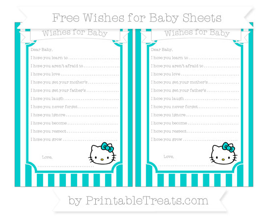 Free Robin Egg Blue Striped Hello Kitty Wishes for Baby Sheets