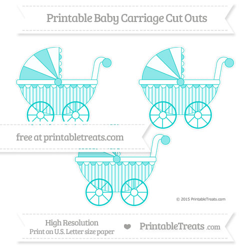 Free Robin Egg Blue Striped Medium Baby Carriage Cut Outs