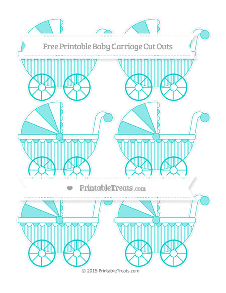 Free Robin Egg Blue Striped Small Baby Carriage Cut Outs