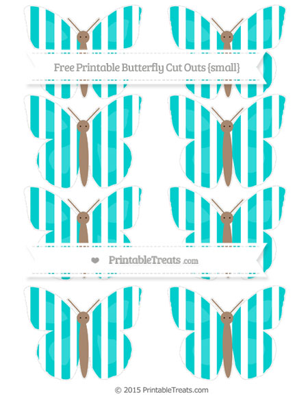 Free Robin Egg Blue Striped Small Butterfly Cut Outs