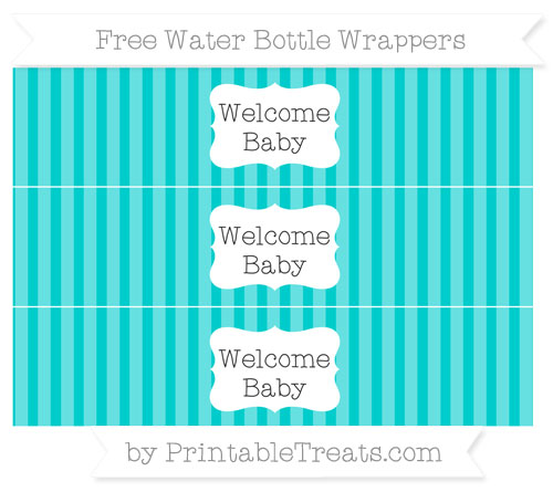Free Robin Egg Blue Striped Welcome Baby Water Bottle Wrappers