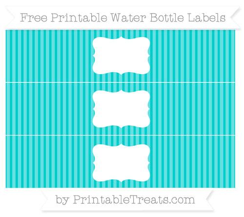 Free Robin Egg Blue Thin Striped Pattern Water Bottle Labels
