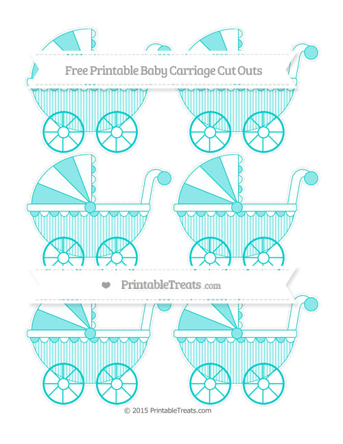 Free Robin Egg Blue Thin Striped Pattern Small Baby Carriage Cut Outs