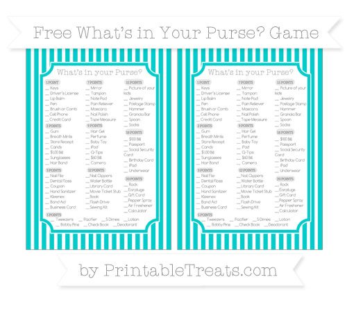 Free Robin Egg Blue Thin Striped Pattern What's in Your Purse Baby Shower Game