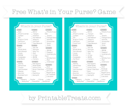 Free Robin Egg Blue What's in Your Purse Baby Shower Game