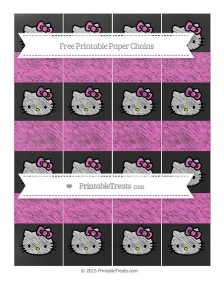 Free Rose Pink Chalk Style Hello Kitty Paper Chains