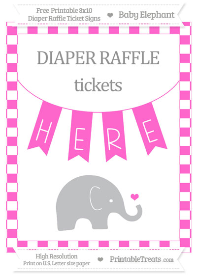 Free Rose Pink Checker Pattern Baby Elephant 8x10 Diaper Raffle Ticket Sign