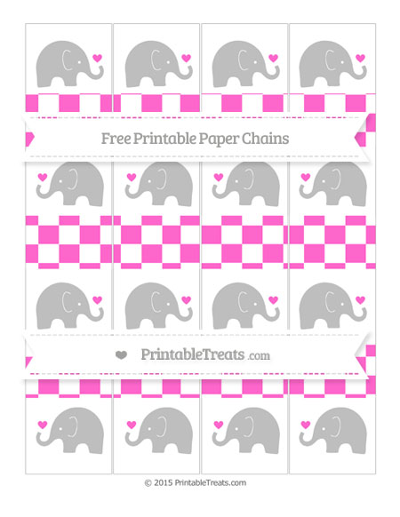 Free Rose Pink Checker Pattern Baby Elephant Paper Chains