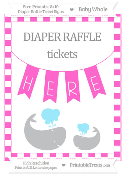 Free Rose Pink Checker Pattern Baby Whale 8x10 Diaper Raffle Ticket Sign