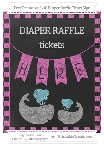Free Rose Pink Checker Pattern Chalk Style Baby Whale 8x10 Diaper Raffle Ticket Sign