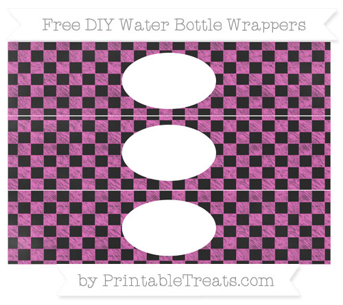 Free Rose Pink Checker Pattern Chalk Style DIY Water Bottle Wrappers