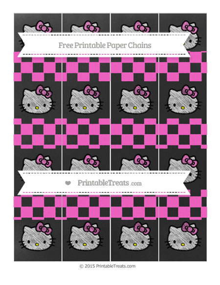Free Rose Pink Checker Pattern Chalk Style Hello Kitty Paper Chains
