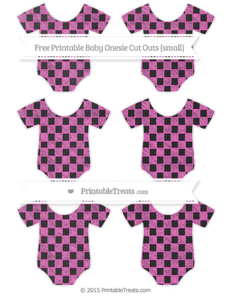 Free Rose Pink Checker Pattern Chalk Style Small Baby Onesie Cut Outs