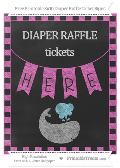 Free Rose Pink Checker Pattern Chalk Style Whale 8x10 Diaper Raffle Ticket Sign