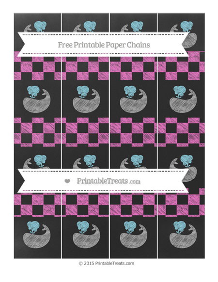 Free Rose Pink Checker Pattern Chalk Style Whale Paper Chains