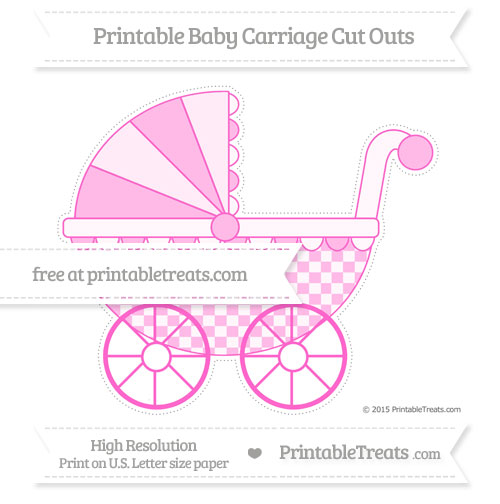 Free Rose Pink Checker Pattern Extra Large Baby Carriage Cut Outs