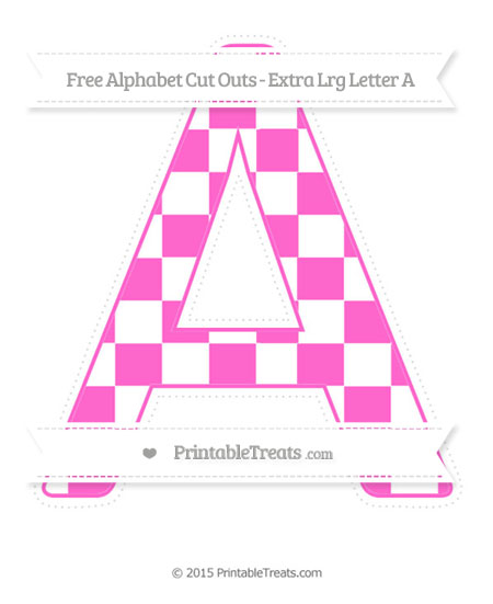 Free Rose Pink Checker Pattern Extra Large Capital Letter A Cut Outs