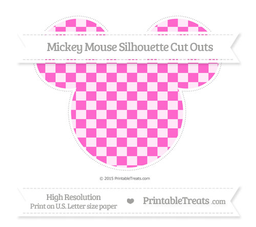Free Rose Pink Checker Pattern Extra Large Mickey Mouse Silhouette Cut Outs