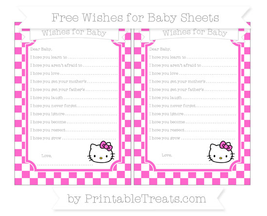 Free Rose Pink Checker Pattern Hello Kitty Wishes for Baby Sheets