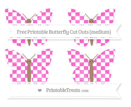 Free Rose Pink Checker Pattern Medium Butterfly Cut Outs