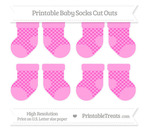 Free Rose Pink Checker Pattern Small Baby Socks Cut Outs