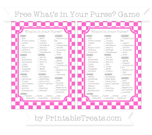 Free Rose Pink Checker Pattern What's in Your Purse Baby Shower Game