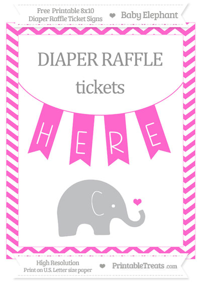 Free Rose Pink Chevron Baby Elephant 8x10 Diaper Raffle Ticket Sign