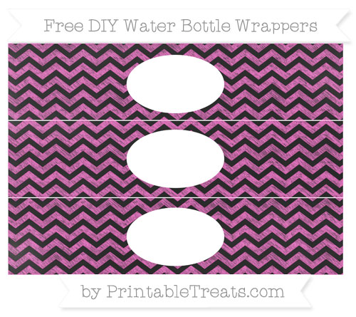 Free Rose Pink Chevron Chalk Style DIY Water Bottle Wrappers