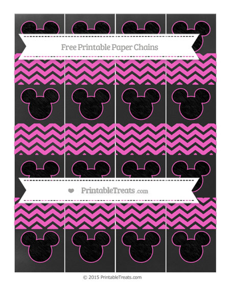 Free Rose Pink Chevron Chalk Style Mickey Mouse Paper Chains