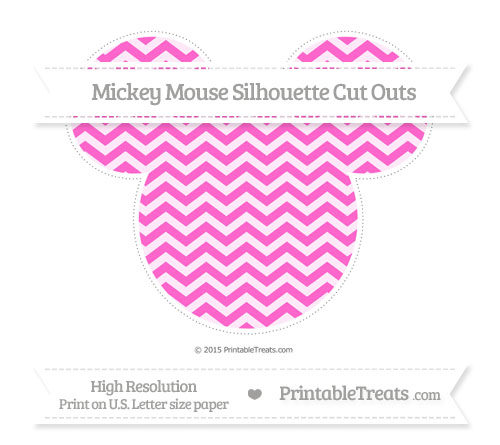 Free Rose Pink Chevron Extra Large Mickey Mouse Silhouette Cut Outs