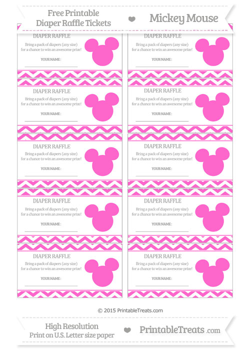 Free Rose Pink Chevron Mickey Mouse Theme Diaper Raffle Tickets