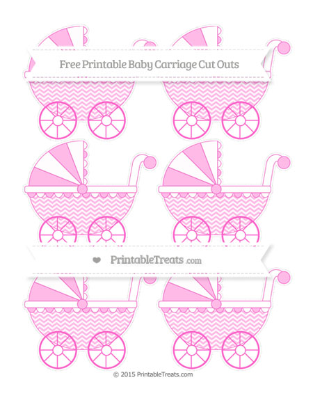Free Rose Pink Chevron Small Baby Carriage Cut Outs