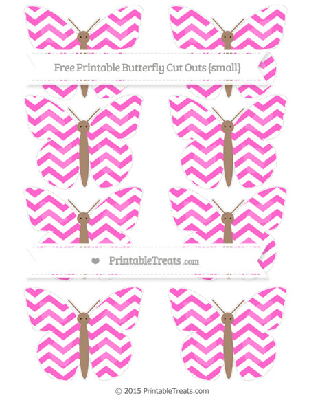 Free Rose Pink Chevron Small Butterfly Cut Outs