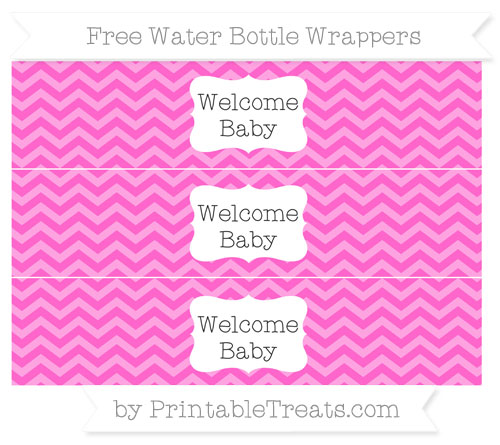 Free Rose Pink Chevron Welcome Baby Water Bottle Wrappers
