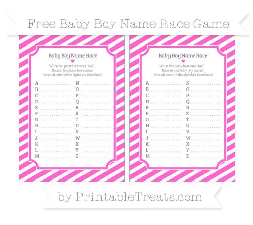 Free Rose Pink Diagonal Striped Baby Boy Name Race Game