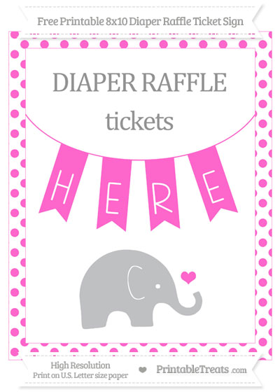 Free Rose Pink Dotted Baby Elephant 8x10 Diaper Raffle Ticket Sign