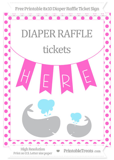 Free Rose Pink Dotted Baby Whale 8x10 Diaper Raffle Ticket Sign