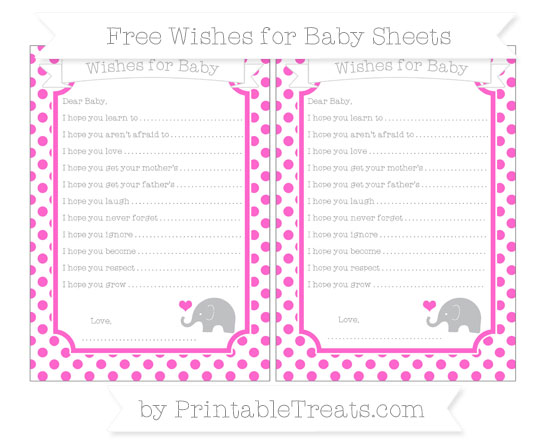 Free Rose Pink Dotted Pattern Baby Elephant Wishes for Baby Sheets