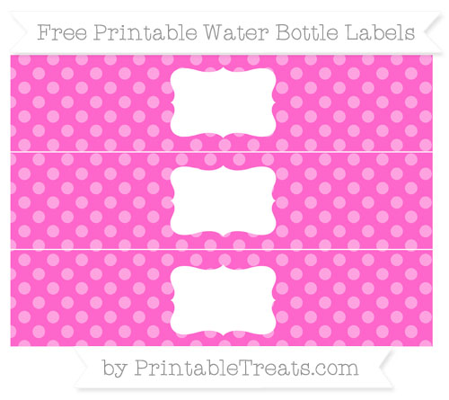 Free Rose Pink Dotted Pattern Water Bottle Labels