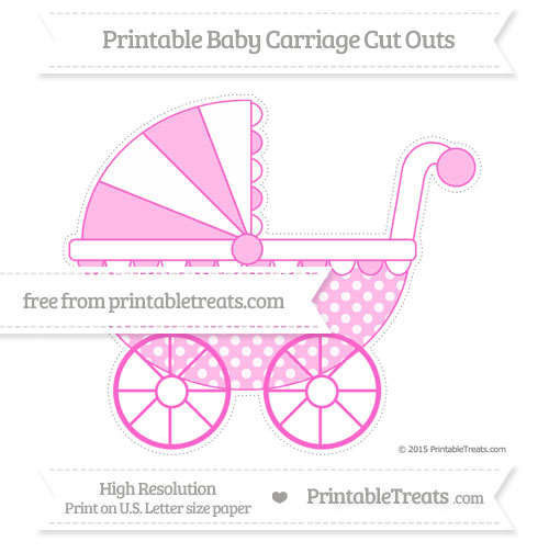 Free Rose Pink Dotted Pattern Extra Large Baby Carriage Cut Outs