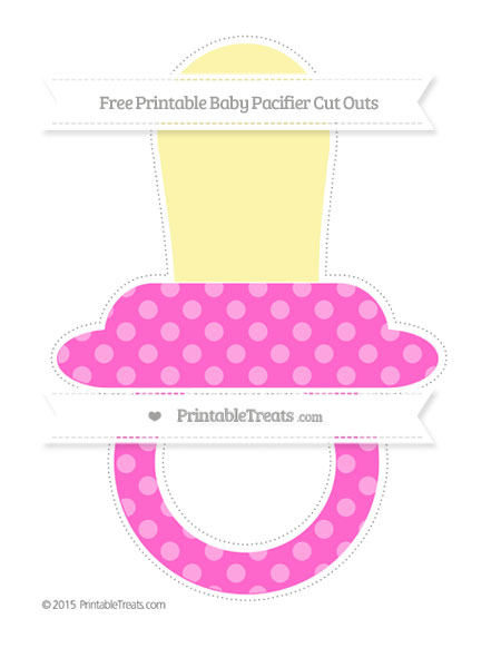 Free Rose Pink Dotted Pattern Extra Large Baby Pacifier Cut Outs