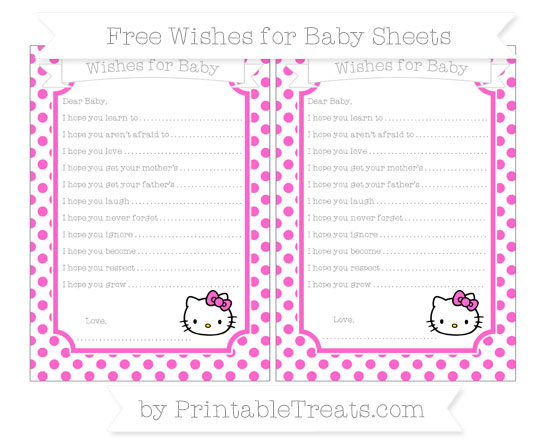 Free Rose Pink Dotted Pattern Hello Kitty Wishes for Baby Sheets