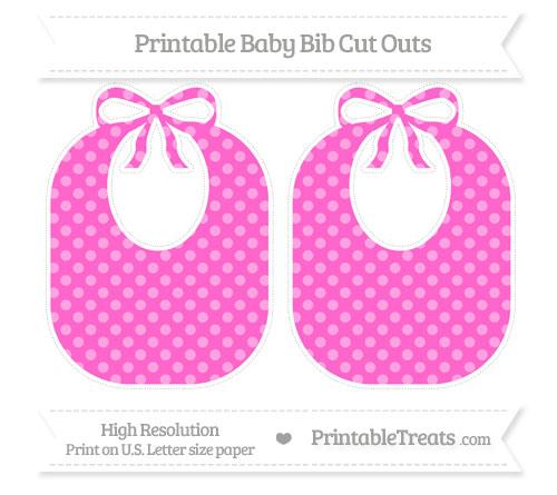 Free Rose Pink Dotted Pattern Large Baby Bib Cut Outs