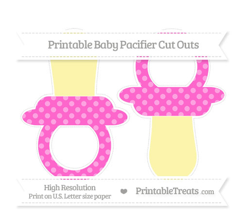 Free Rose Pink Dotted Pattern Large Baby Pacifier Cut Outs