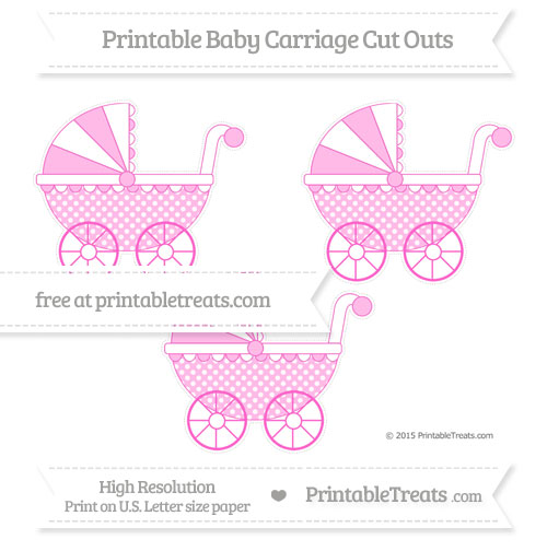 Free Rose Pink Dotted Pattern Medium Baby Carriage Cut Outs