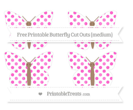 Free Rose Pink Dotted Pattern Medium Butterfly Cut Outs