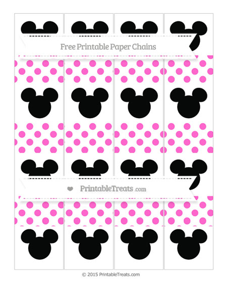 Free Rose Pink Dotted Pattern Mickey Mouse Paper Chains