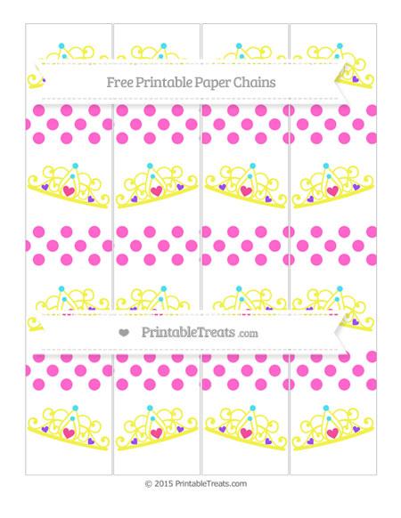 Free Rose Pink Dotted Pattern Princess Tiara Paper Chains