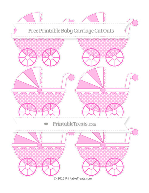 Free Rose Pink Dotted Pattern Small Baby Carriage Cut Outs
