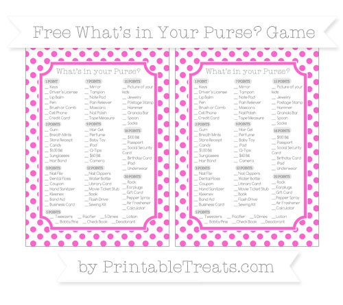 Free Rose Pink Dotted Pattern What's in Your Purse Baby Shower Game